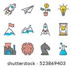 start up colored filled... | Shutterstock .eps vector #523869403