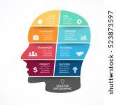vector brain infographic... | Shutterstock .eps vector #523873597