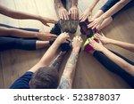 yoga practice exercise class... | Shutterstock . vector #523878037