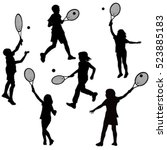 Silhouettes Of Children Playin...