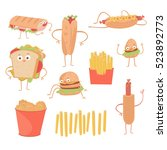 fast food emoticon characters... | Shutterstock .eps vector #523892773