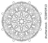 black and white mandala.... | Shutterstock . vector #523893913