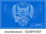 hot rod v8 engine drawing | Shutterstock .eps vector #523895587