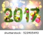 christmas. 2017 new year banner.... | Shutterstock .eps vector #523905493