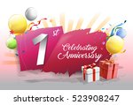1st anniversary celebration... | Shutterstock .eps vector #523908247