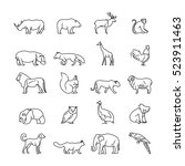 animals thin line icons.... | Shutterstock . vector #523911463