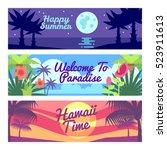happy summer travel time hawaii ... | Shutterstock . vector #523911613