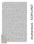 large vector vertical maze with ... | Shutterstock .eps vector #523911967