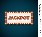 jackpot banner with retro... | Shutterstock . vector #523919197