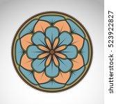 vector abstract flower mandala. ... | Shutterstock .eps vector #523922827