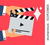 flat movie clapperboard symbol... | Shutterstock .eps vector #523925803