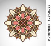 vector abstract flower mandala. ... | Shutterstock .eps vector #523926793