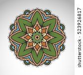 vector abstract flower mandala. ... | Shutterstock .eps vector #523926817