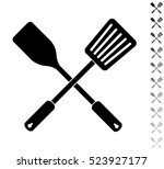 crossed spatula and slotted... | Shutterstock .eps vector #523927177