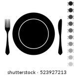 fork knife and plate   black... | Shutterstock .eps vector #523927213