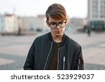 handsome young man with glasses ... | Shutterstock . vector #523929037
