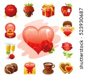 romantic dating icon set.... | Shutterstock .eps vector #523930687