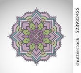 vector abstract flower mandala. ... | Shutterstock .eps vector #523932433