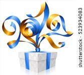 vector blue ribbon and gift box ... | Shutterstock .eps vector #523934083