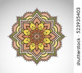 vector abstract flower mandala. ... | Shutterstock .eps vector #523935403