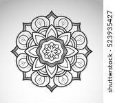 vector abstract flower mandala. ...   Shutterstock .eps vector #523935427