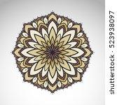 vector abstract flower mandala. ... | Shutterstock .eps vector #523938097