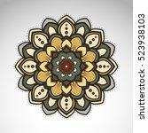 vector abstract flower mandala. ... | Shutterstock .eps vector #523938103