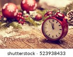 new year's clock. decorated... | Shutterstock . vector #523938433