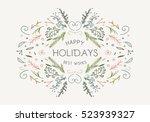 merry christmas vintage... | Shutterstock .eps vector #523939327