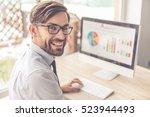 handsome businessman in... | Shutterstock . vector #523944493