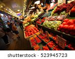pike place  seattle.  july 26... | Shutterstock . vector #523945723