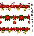 set of seamless christmas... | Shutterstock .eps vector #523946197
