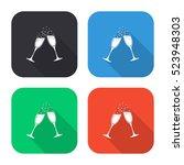 champagne glasses vector icon   ... | Shutterstock .eps vector #523948303