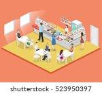 isometric flat 3d concept...   Shutterstock .eps vector #523950397