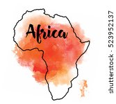 textured vector map of africa.... | Shutterstock .eps vector #523952137