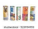 set of rolled swiss franc... | Shutterstock . vector #523954993