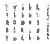 black icons with alcohol | Shutterstock .eps vector #523955077