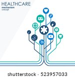 healthcare mechanism concept.... | Shutterstock .eps vector #523957033