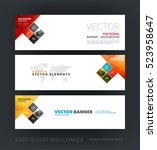 vector set of modern horizontal ... | Shutterstock .eps vector #523958647