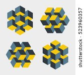 set of illusive cubes... | Shutterstock .eps vector #523960357
