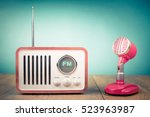 retro wooden fm radio receiver  ... | Shutterstock . vector #523963987