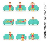set icon hipster man with... | Shutterstock .eps vector #523964617