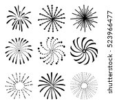set of hand drawn fireworks and ... | Shutterstock .eps vector #523966477