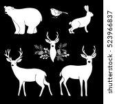 set of white chalk animals.... | Shutterstock .eps vector #523966837