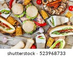 closeup a variety of products.... | Shutterstock . vector #523968733