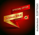 christmas sale special offer... | Shutterstock .eps vector #523970263