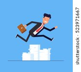 businessman or manager jumping... | Shutterstock .eps vector #523971667