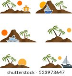 set of flat graphic island with ...   Shutterstock .eps vector #523973647