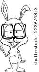 rabbit with glasses  contour...   Shutterstock .eps vector #523974853