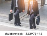 businessman and business woman... | Shutterstock . vector #523979443